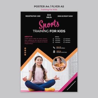 Conceito de cartaz de treinamento para crianças