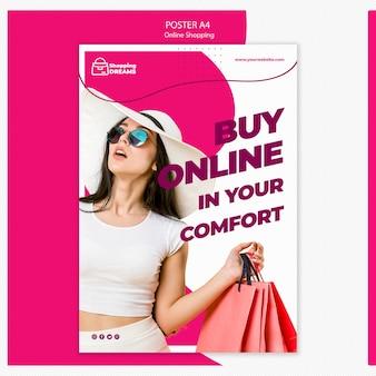 Conceito de cartaz on-line de compras