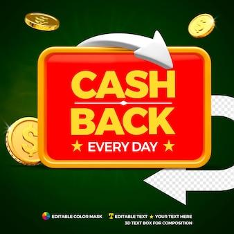 Conceito de cashback com moedas, seta e caixa de texto frontal