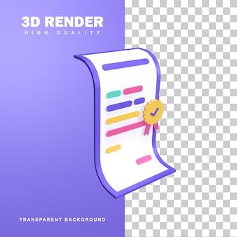 Conceito de certificação de renderização 3d.