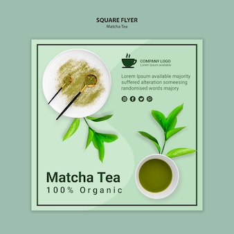 Conceito de chá matcha para modelo de panfleto