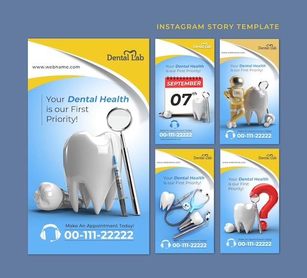 Conceito de cirurgia de implantes dentários histórias do instagram banner templat