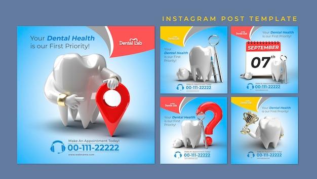 Conceito de cirurgia de implantes dentários instagram post banner template.