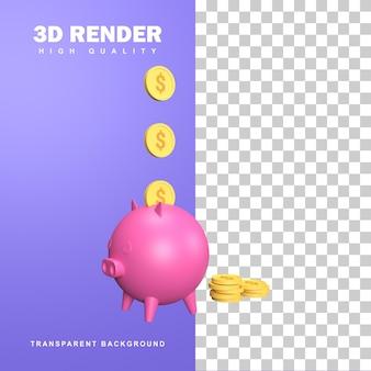 Conceito de cofrinho de renderização 3d, economizando dinheiro para economizar.