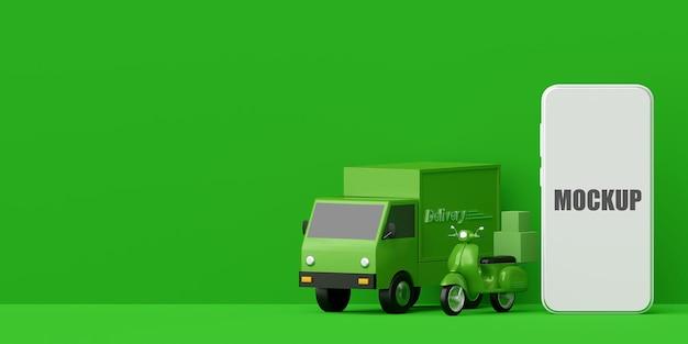 Conceito de comércio eletrônico serviço de entrega com maquete de telefone