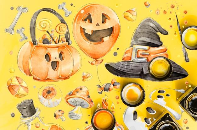 Conceito de desenho colorido e artístico de halloween