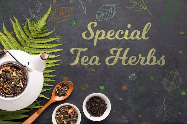 Conceito de ervas especiais de chá vista superior