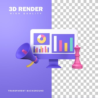 Conceito de estratégia de marketing de renderização 3d ao atingir metas com sucesso.