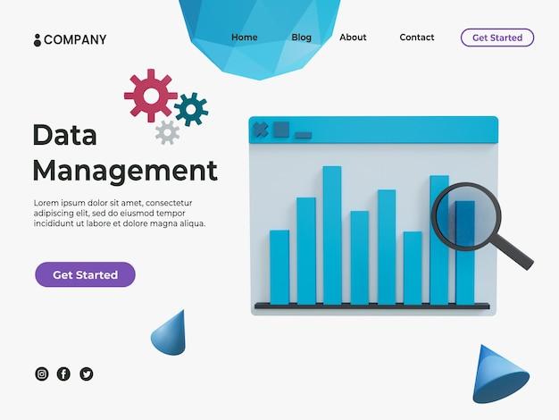 Conceito de gerenciamento de dados 3d para página de destino com gráfico de estatísticas