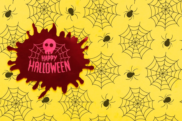 Conceito de halloween com caveira e teia de aranha