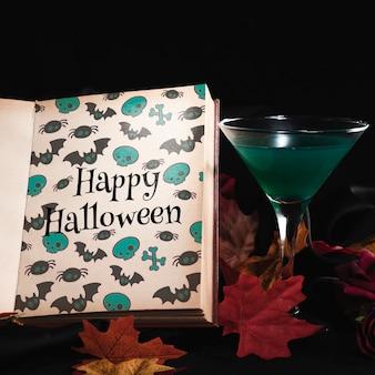 Conceito de halloween com livro de maquete
