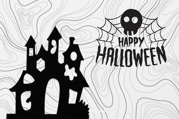 Conceito de halloween com silhueta de castelo
