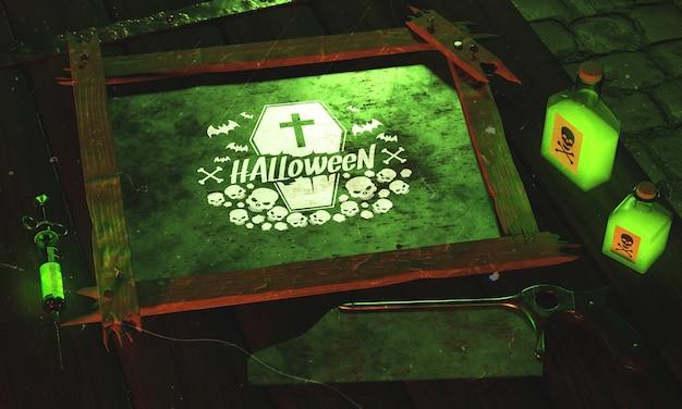 Conceito de halloween de alto ângulo com luz verde