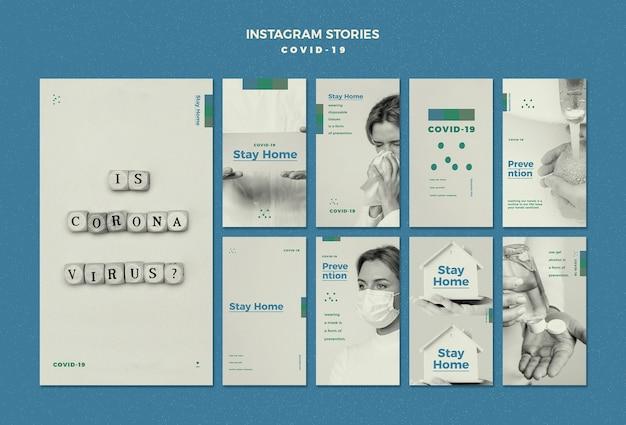 Conceito de histórias do instagram de coronavírus
