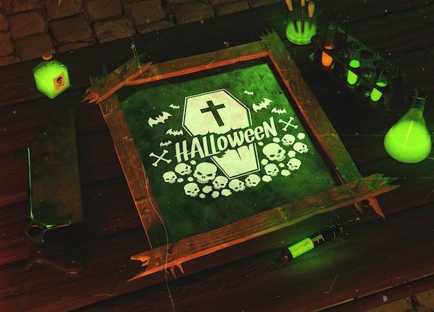 Conceito de horror verde halloween de alto ângulo