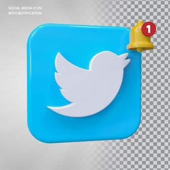 Conceito de ícone 3d do twitter com notificação de campainha