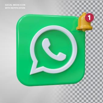 Conceito de ícone 3d do whatsapp com notificação de campainha