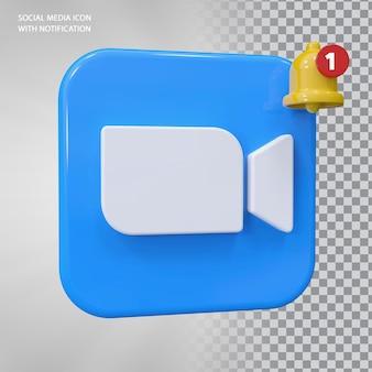 Conceito de ícone de zoom 3d com notificação de campainha