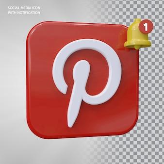 Conceito de ícone do pinterest 3d com notificação de campainha