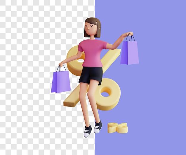 Conceito de ilustração 3d de compras com grande desconto