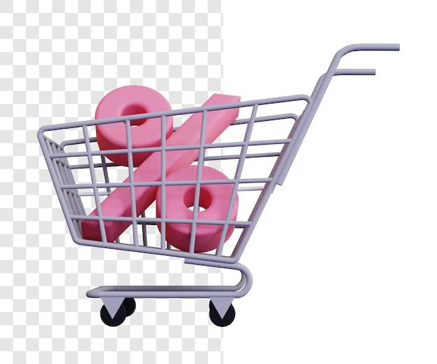 Conceito de ilustração 3d de desconto de carrinho de compras