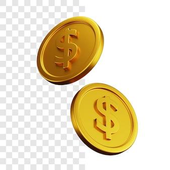 Conceito de ilustração 3d de duas moedas de dólar de ouro