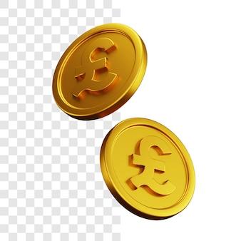 Conceito de ilustração 3d de duas moedas de ouro de libra esterlina