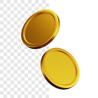 Conceito de ilustração 3d de duas moedas de ouro