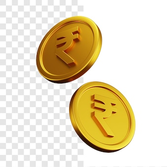 Conceito de ilustração 3d de duas moedas de rupia de ouro