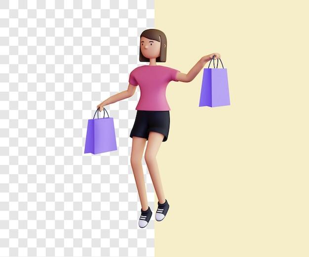 Conceito de ilustração 3d de feliz senhora das compras