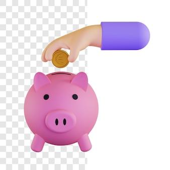 Conceito de ilustração 3d de investimento de dinheiro do euro
