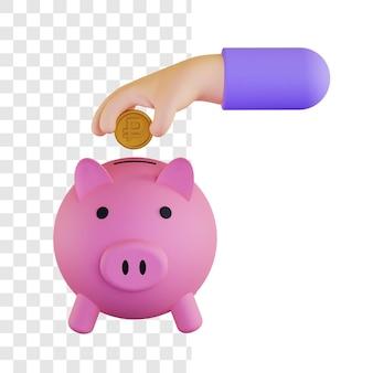 Conceito de ilustração 3d de investimento de dinheiro em rublo