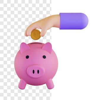 Conceito de ilustração 3d de investimento de dinheiro em rúpia