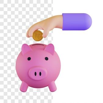 Conceito de ilustração 3d de investimento de dinheiro rupia