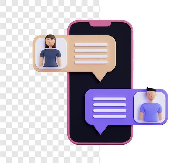 Conceito de ilustração 3d de mensagem curta