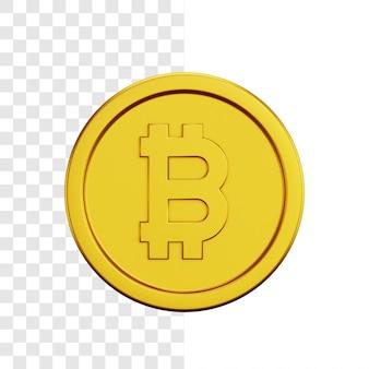 Conceito de ilustração 3d de moeda de ouro bitcoin
