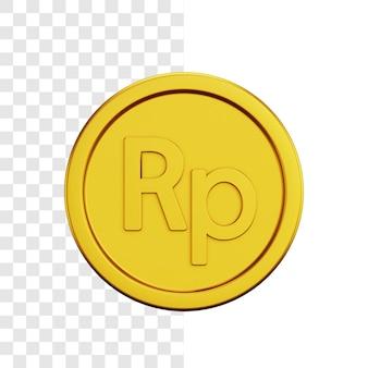 Conceito de ilustração 3d de moeda de ouro rupia
