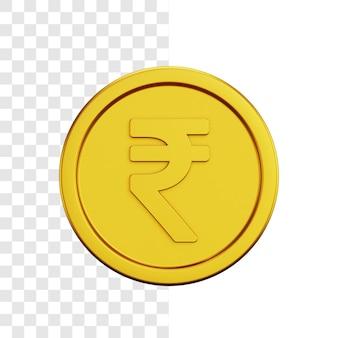 Conceito de ilustração 3d de moeda rúpia de ouro