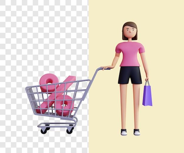 Conceito de ilustração 3d de mulher comprando