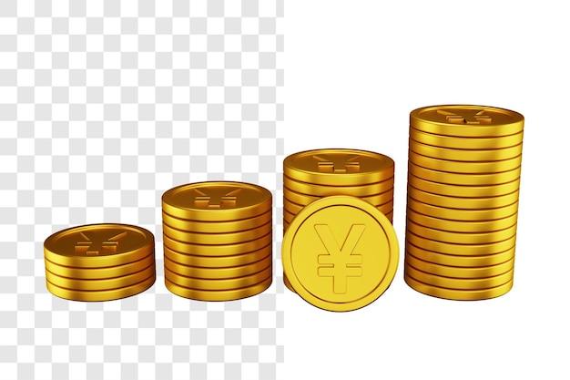 Conceito de ilustração 3d de pilha de moedas de ienes