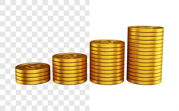 Conceito de ilustração 3d de pilha de moedas de rupia