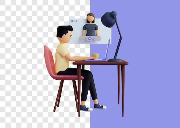 Conceito de ilustração 3d de videochamada com namorada