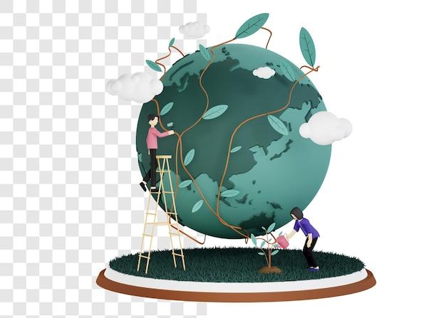 Conceito de ilustração 3d do dia do meio ambiente com a mulher regando as plantas