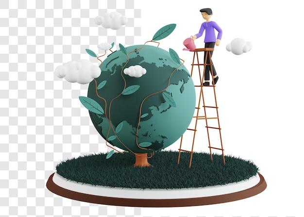 Conceito de ilustração 3d do dia do meio ambiente com homens regando de cima