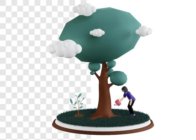 Conceito de ilustração 3d do dia do meio ambiente com uma mulher regando uma grande árvore