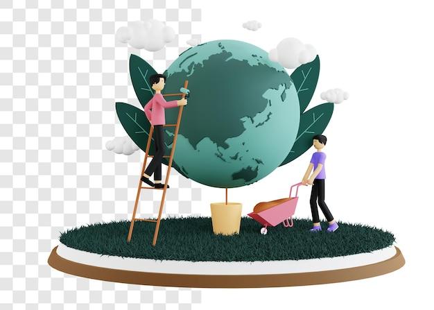 Conceito de ilustração 3d do dia do meio ambiente cuidando da terra