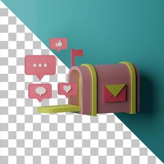 Conceito de ilustração de marketing por e-mail 3d renderizado