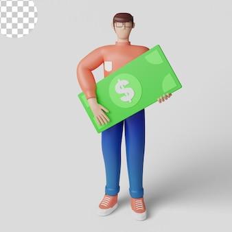 Conceito de ilustrações 3d desenho de homem rico com empresário segurando dinheiro psd premium