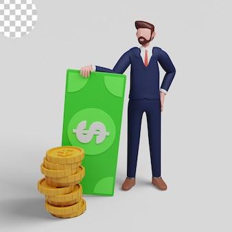 Conceito de ilustrações 3d desenho de homem rico com empresário segurando dinheiro