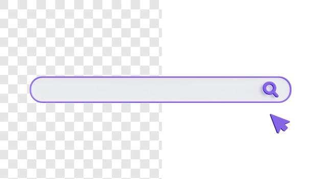 Conceito de imagem da barra de pesquisa 3d em branco com ponteiro
